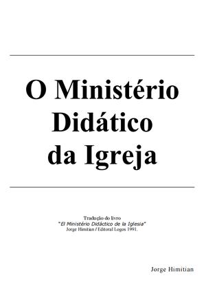 E-book O Ministério Didático da Igreja